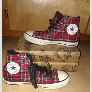 Classic Converse red plaid high top sneaker